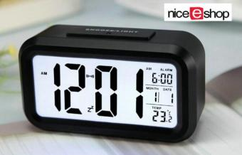Harga niceEshop Silent LED Alarm Clock With White Night Light Date Temperature (Black)