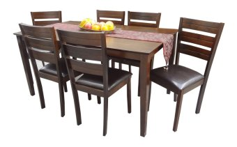 Harga Hapihomes Hanson 6-Seater All Wood Dining Set (Brown)