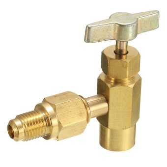 Harga R134A to R12 Top Mount Can Taper With Shut-Off Valve 1/2 ACME TO 1/4 FLARE Tap - intl