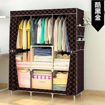 Harga Fashion Large Size Quality Curtain Type Multifunctional Wardrobe Storage Lockers (Coffee)