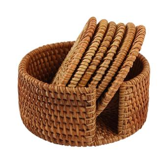 Andux Handmade Round Rattan Coasters with Holder BD-02 - intl Price Philippines