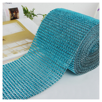 Andux 10 Yards Rhinestone Mesh Ribbon Wrap Bulk Wedding Christmas Decorations SDWZ-01 Lake Blue - intl Price Philippines