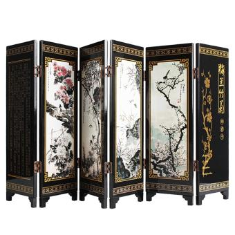 Andux Small Wooden Folding Screen Art Screen FGPF-01 (Plant) - intl Price Philippines