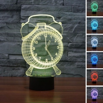 Harga Touch Switch 7 Colors Changing Night light 3D Visual LED Lamp(Alarm Clock)[Buy 1 Get 1 Freebie] - intl