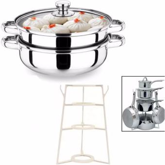 Pantree Pots and Pans Organizer (White)With Stainless Steel Double Soup Steaming Two Pot 28cm Price Philippines