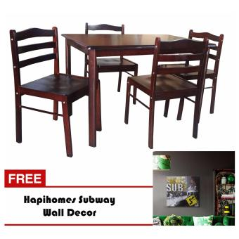 Harga Hapihomes Starter 4-Seater Dining Set with Subway Wall Decor