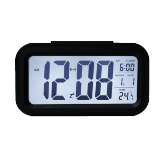 Harga louiwill Silent LED Alarm Clock with White Night Light Date Temperature (Black) (Intl)