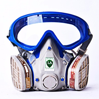 Harga Gas Mask with Full Face Chemical Protective Mask - Blue