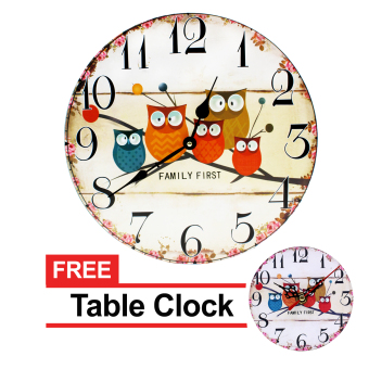 Harga Wallmark Family First Wooden Wall Clock With FREE Table Clock