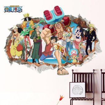 Yika 3D One Piece Anime Luffy Mural Wall Decal Removable Sticker Children's room Decor - intl Price Philippines