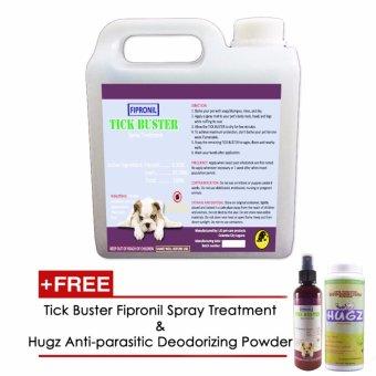 Tick Buster Fipronil Spray Treatment 1000mL with Free Tick Buster Fipronil Spray Treatment 200mL and Hugz Anti-parasitic Deodorizing Powder 100g