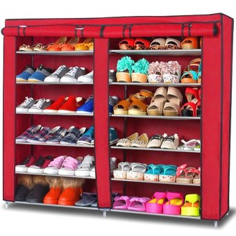 Harga Amazing High Quality 6 Layer Shoe Rack Shoe Cabinet Maroon