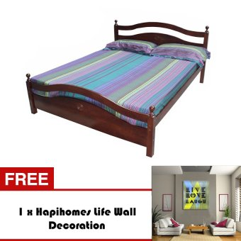Harga Hapihomes Limestone (36 x 75) Single Bed Frame with Free Life Wall Decoration