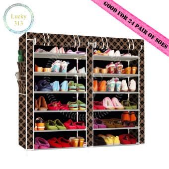 Harga Double Capacity 6 Layer Shoe Rack Shoe Cabinet
