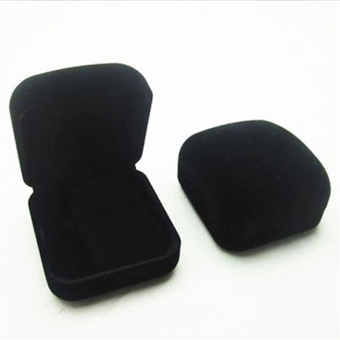 U32 Fashion Velvet Ring Box Jewellery Display Box Square Black Ring Box - Intl Price Philippines