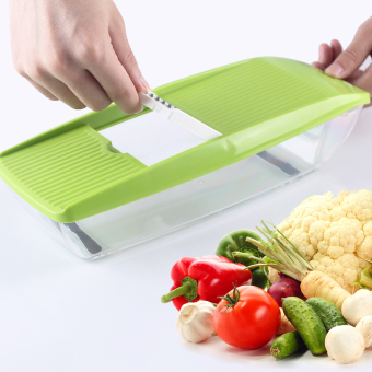 Harga Mandoline Slicer Manual Vegetable Cutter with 5 Blades Potato Carrot Grater for Vegetable Onion Slicer Kitchen Accessories (green) - intl