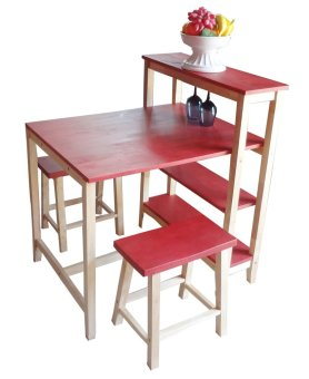 Harga Hapihomes Vanessa Dining Set (Red)