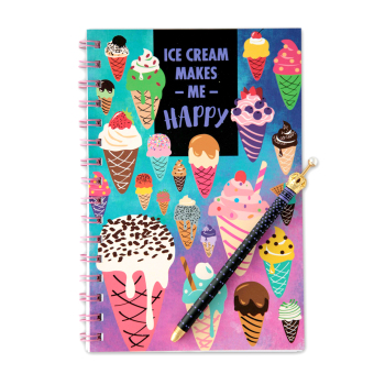 Harga The Paper Stone Softcover A5 Notebook + crown pen: Ice Cream Makes Me Happy + crown pen with pearl jewel