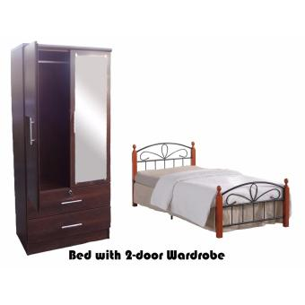 Harga Hapihomes PluTo 2-door Wardrobe with Paris 48' x 75' Bed Frame set