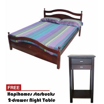 Harga Hapihomes Chelsea 60' x 75' Bed Frame withStarbucks 2-Drawer Night Table