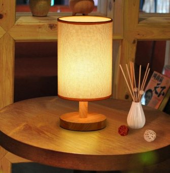 Harga Fengsheng Bedside Lamp Desk Lamp with Linen Shade Light for Bedroom Living Room Baby Room - intl