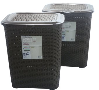 Klio Laundry Basket Woven Style with cover 0306 Set of 2 (Brown) Price Philippines