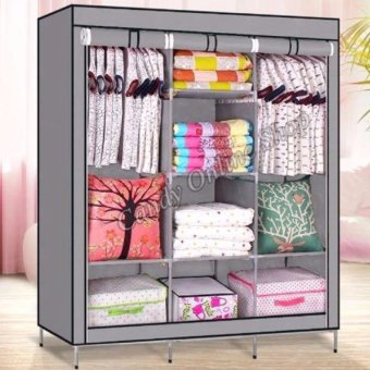 Harga Lucky Man Class A 88130 Fashion Cloth Storage Wardrobe (Grey)