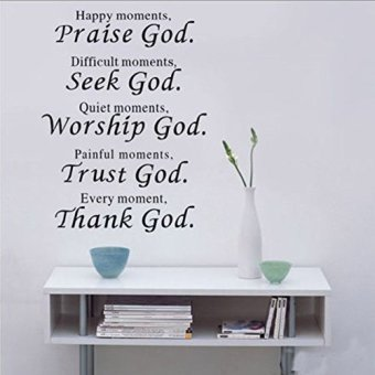 Harga Wall Vinyl Decal Quote Sign Christian Praise God DIY Art Sticker Home Wall Decor
