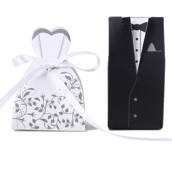 100pcs Bride and Groom box Wedding Favor Boxes Gift box Candy box (Intl) Price Philippines