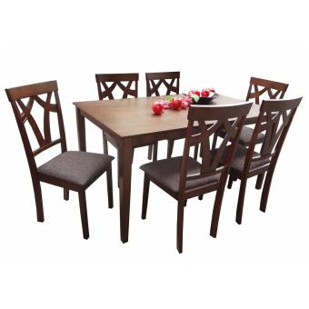 Harga Hapihomes Precious Jew 6-Seater Dining Set with Cushion Seat