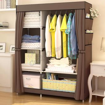 Harga Quality Fashion Multifunction Cloth Wardrobe Storage Cabinets 77105 (Coffee)