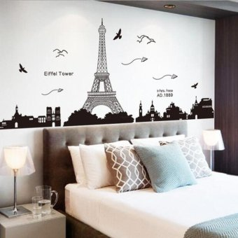 Harga Beau Fashionable Bedroom Tower Pattern Art Decoration DIY Removable Wall Sticker Black And White - intl