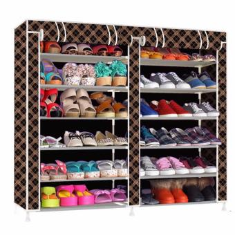 Harga Double Capacity 6 Layer Shoe Rack Shoe Cabinet (Chocolate)
