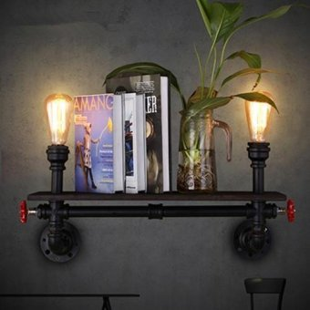 Loft Retro Industrial Restaurant Bar Creative Wall Light American Style Living Room Study Shelves Art Water Pipe Wall Lamp Black 54*22cm - intl Price Philippines