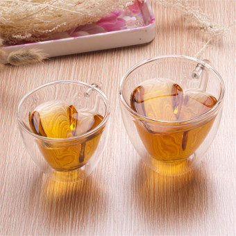 Harga 180ml Heart Love Shaped Double Wall Layer Transparent Glass Tea Cup Lover Coffee Mug - intl