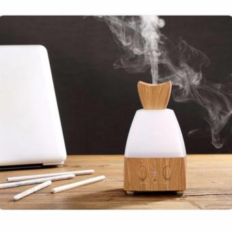 Electric Fragrance Diffuser Wood Essential Oil Diffuser Warm LED Lights Changing 80ML Mist Diffuser for Home,Office (Light wood) - intl Price Philippines