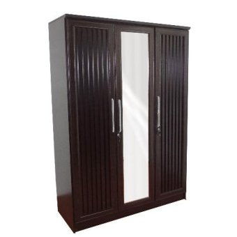 Harga Hapihomes Charles 3-door Wardrobe with Mirror (wenge)