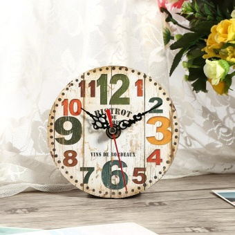 Harga Retro Creative Antique Wall Clock Vintage Style Wooden Round Clocks Home Office Decoration (#3) - intl