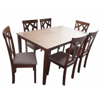 Harga Hapihomes Brilliant Jew 6-Seater Dining Set with Cushion seat