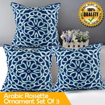 "Home Essentials Arabic Rossette Ornament Canvas 16"" x 16"" Throw Pillow Case Set of 3 Price Philippines"