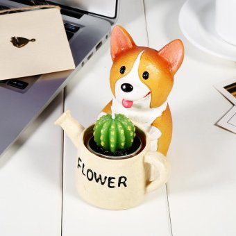 Cute Animal Shaped Flower Bonsai Pots Home Decoration(Corgi Hold Pot) - intl Price Philippines