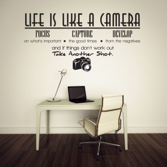 Harga Life Is Like A Camera Wall Sticker Decal Quote Vinyl Room Wall Decal Decor