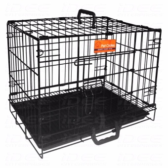 Harga Pet Crates EL-2.5B Foldable Dog Cage w/ Plastic tray (Black)