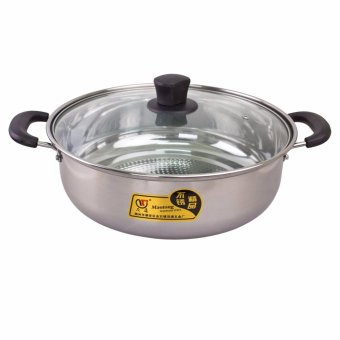 Harga PhoenixHub 30cm Multi-Purpose Stainless Steel Soup Steam Hot Pot with Glass Lid Maotong