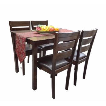 Harga Hapihomes Hanson 4-Seater All Wood Dining Set