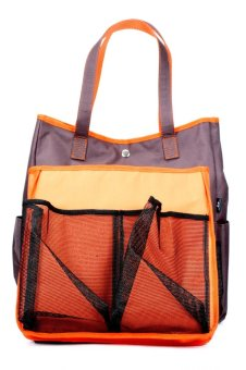 Le Organize Tote with Removable Organizer (Brown/Orange) Price Philippines
