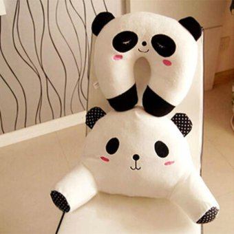 Harga XIYOYO 2 Pcs Cute Carton Plush Toys Back Cushion Waist Support Neck Pillow-Panda - intl