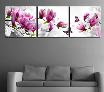 Harga Luxury Elegant Canvas Painting Wall Pictures 3 Panel Wall Art Such Beauty Flower Canwas Art Home Decor Modern Canvas Prints (No Frame)