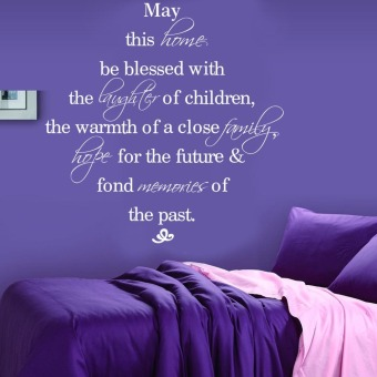 Harga May This Home Be Blessed English Quote Wall Decals Vinyl Art Sticker 53cm*53cm