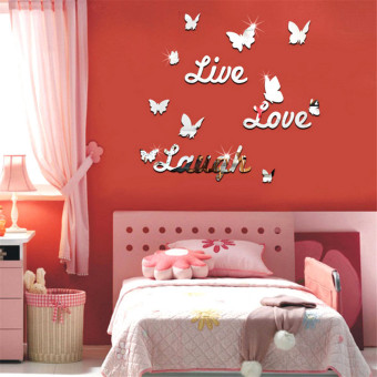 Harga Yika Live Laugh Love Quote DIY Vinyl Mirror Wall Sticker (Silver)